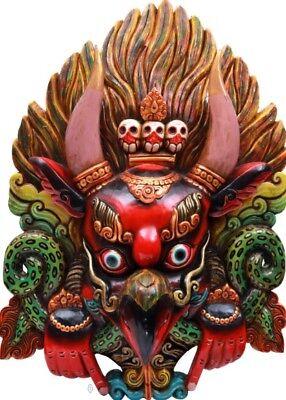 "Nepal Craft Garuda Wall Hanging Mask Jai God Statue 31"" India Wood Carving 6.4KG"