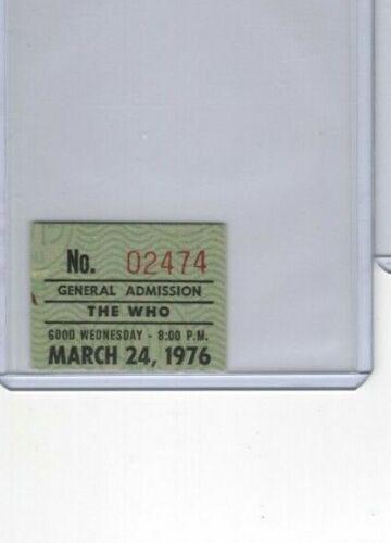 1976 THE WHO ticket stub, Portland, Oregon Memorial Coliseum, March 24