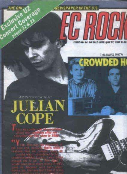 EAST COAST ROCKER #44, MAY 20, 1987 JULIAN COPE CROWDED HOUSE COVER, BUDDY HOLLY