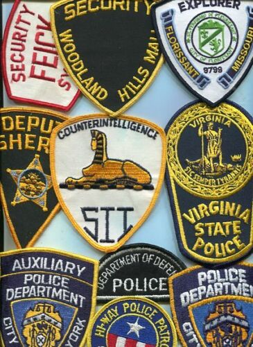 Lot of 10 Vintage full size Police Patches-mixed lot No-1