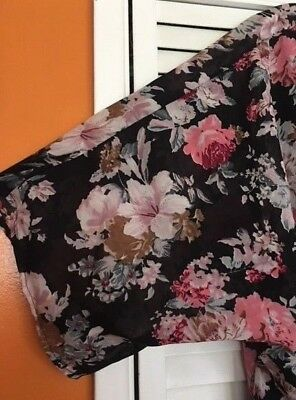 (XL/1X/2X/3X Black Pink BabyRoses Floral KIMONO Jacket Top Topper Duster Cardigan)