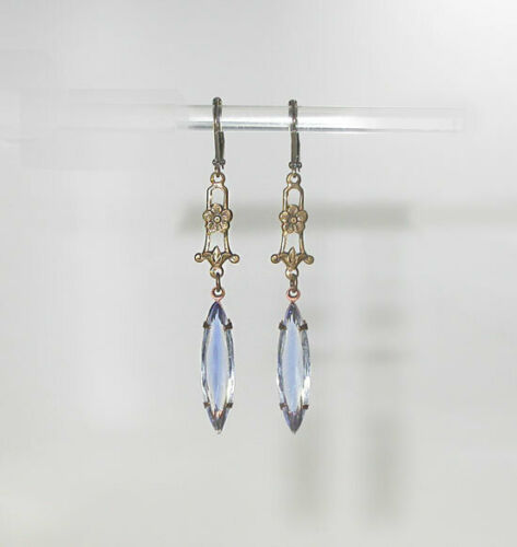 Dainty vintage VICTORIAN Style Palest Blue Drop EARRINGS~Prong Set Navettes~
