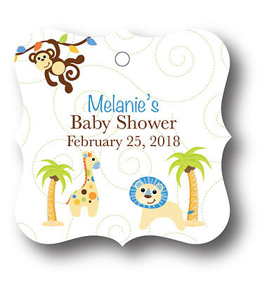 24 Blue Baby Boy Jungle Personalized With Name Baby Shower Favor - Blue Baby Jungle