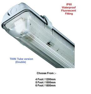 IP65 Fluorescent Weatherproof Light Fitting 4 5 6ft Twin