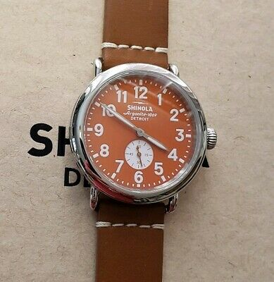 Shinola Runwell Watch with 41mm Orange face & White Numbers & Brown Band