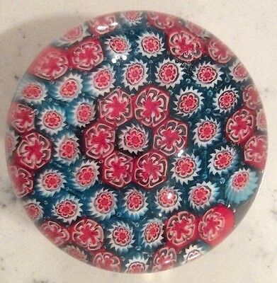 Millefiori Cane Art Glass Paperweight Vintage Blue Red White