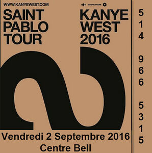Kanye West 02/09/16, Centre Bell, Section Rouge, Club, Blanc