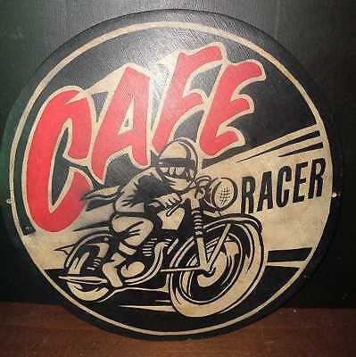 CAFE RACER WOODEN HAND PAINTED VINTAGE STYLE MOTORCYCLE ADVERTISING SIGN