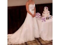 Wedding dress, A-line, Strapless, Lace and Diamanté with long train and lace up back