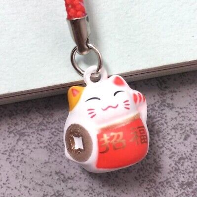Maneki Neko Fortune Lucky Beckoning Cat Keyring Keychain Key Ring Chain Gift B