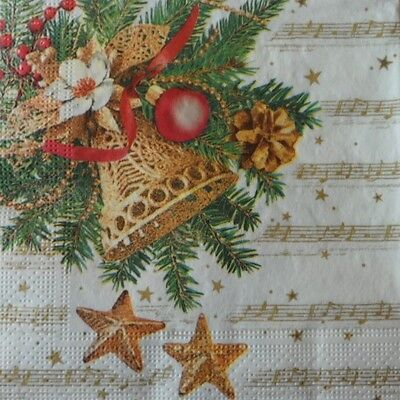 4 x Single Paper Napkins Christmas Bell Stars for Decoupage and Crafting 89