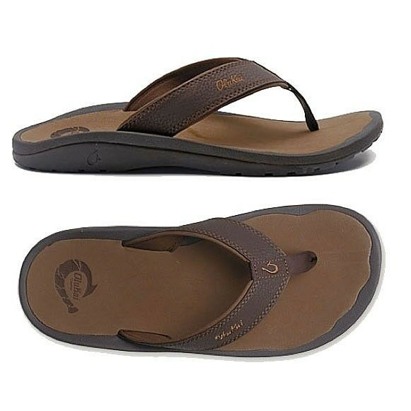 Olukai Ohana Dark Java/Ray Comfort Flip Flop Men's sizes 7-18 NIB!!!