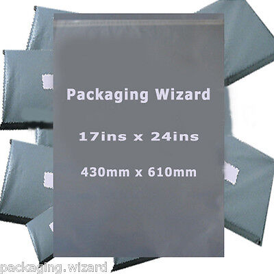 10 x Strong Poly Mailing / Postal Bags 17ins x 24ins (430mm x 610mm) Grey