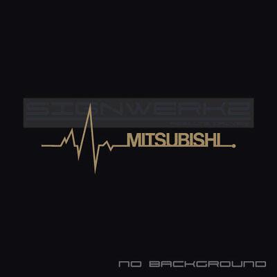 Mitsubishi Heart Beat Pulse Decal Left Turbo Evolution Mivec Racing Pair