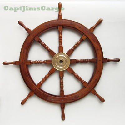 "Large 36"" Boat Ship Wooden Steering Wheel Brass Center Nautical Wall Decor New"