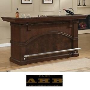 NEW* AHB CARMELLA BAR CABINET - 119809609 - AMERICAN HERITAGE BILLIARDS BROWN FINISH WINE STORAGE CABINETS BARS STAND...