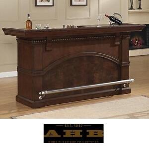 NEW* AHB CARMELLA BAR CABINET - 119809609 - AMERICAN HERITAGE BILLIARDS BROWN FINISH WINE STORAGE CABINETS BARS STAND...
