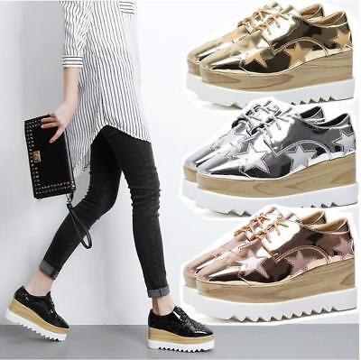 Patent Leather Womens Lace Up Platform Oxfords Wedge Heel Casual Creepers Shoes Leather Star Creeper Shoe