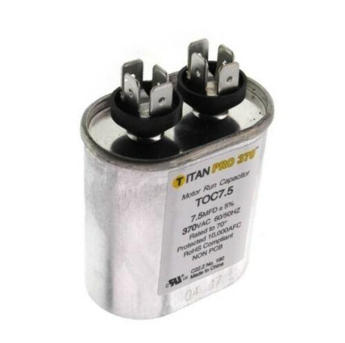 Run Cap 7.5 MFD 370vac Electric Motor Run Oil Fill Capacitor uf HVAC Titan Oval