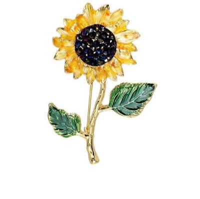 Sunflower Flower Curly Petals Crystal Center Vintage Gold Pin Brooch D-7000