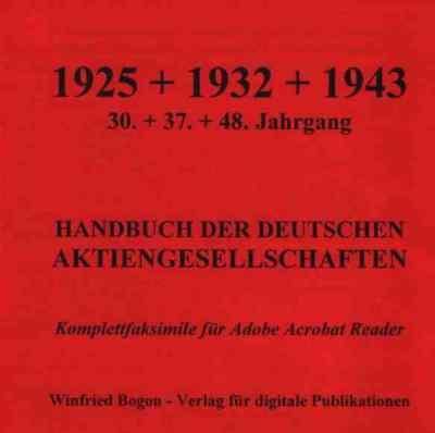 Deutsche Aktiengesellschaften Handbuch 1925 1932 1943 # 21.000 Seiten Firmeninfo