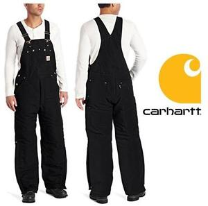 NEW CARHARTT OVERALLS MEN'S 38x32 BLACK- QUILT LINED DUCK BIB - PANTS 99688935
