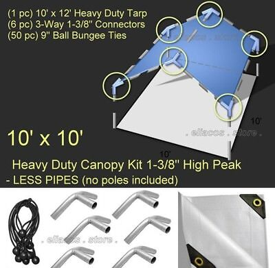 10' x 10' Heavy Duty 1-3/8'' High Peak Canopy Kit - LESS PIPE POLES - White