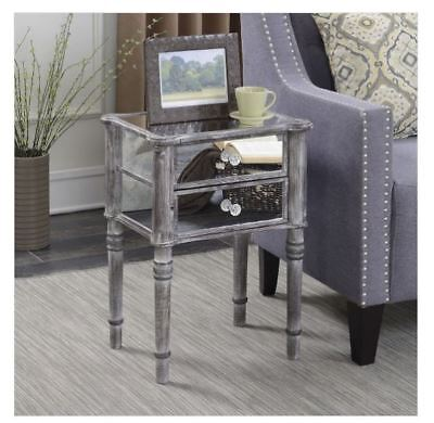 Mirrored Nightstand Bedroom End Table Gray Shabby Chic Glam Distressed Insufficient