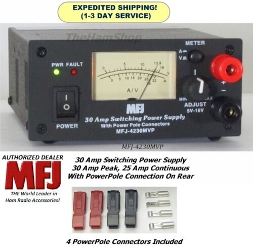 MFJ 4230MVP 30 AMP Switching Power Supply With Meter, 4-16 Volts & Powerpoles