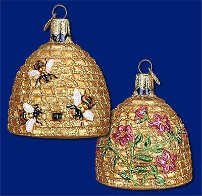 BEE SKEP HIVE OLD WORLD CHRISTMAS GLASS HONEY FLOWERS INSECT ORNAMENT NWT 12391