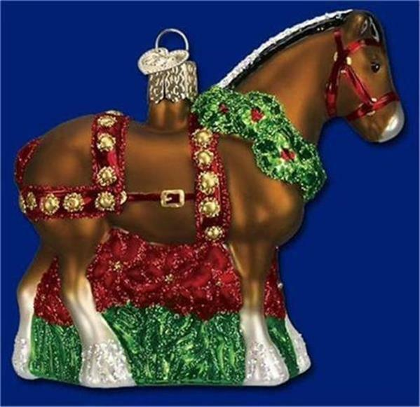 HOLIDAY CLYDESDALE OLD WORLD CHRISTMAS GLASS DECORATED HORSE ORNAMENT NWT 12255