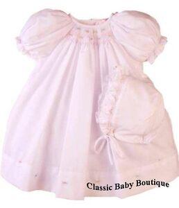 NWT-Petit-Ami-Pink-Multi-Smocked-Bishop-Baby-Dress-Daygown-Bonnet-2PC-Preemie