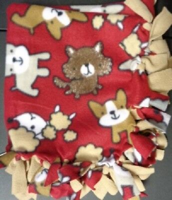 NEW Handmade Puppy Dog Blanket ~  Cute Puppy Dogs Red Background ~ Tan Back