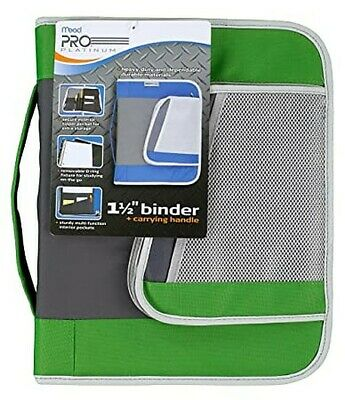 Mead Pro Platinum Heavy-duty Zipper Binder With Handle 1.5 Capacity Green