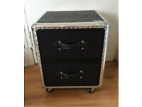 Harley Chest, 2 drawers with wheels, New, leather effect