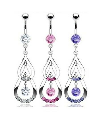 CZ DOUBLE TEAR DROP BELLY NAVEL RING DANGLE GEM B491 BUTTON PIERCING JEWELRY (Double Drop Belly Ring)