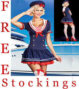 Ladies Sailor  Sea Fancy Dress Costume Outfit Many Styles UK 8 10 12 14 16 18