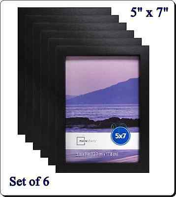 """Picture Frame 5"""" x 7"""" Set of 6 Black Linear Home Wall Decor Photos Or Artwork"""