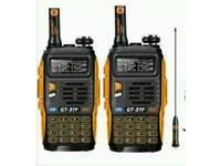 2 x Long Range GT3 TP MK3 VHF UHF walkie talkie PMR or Ham Radio 8 watts output