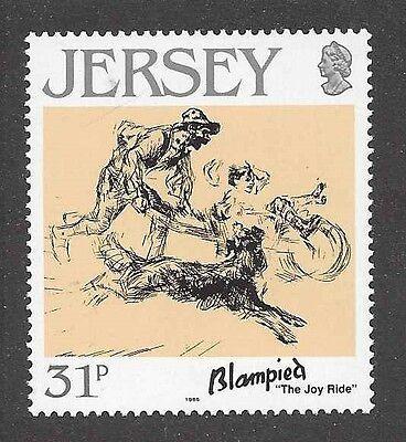 Art Body Study Portrait Postage Stamp BORDER COLLIE DOG Jersey UK MNH