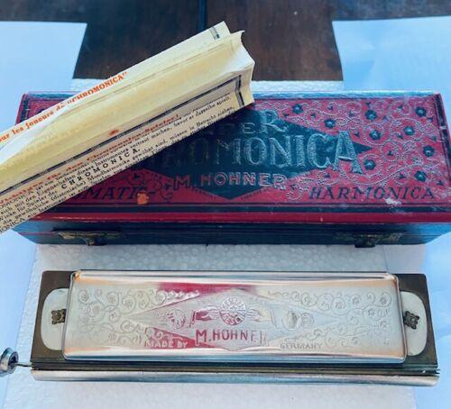 *Rare 6 POINT STAR* Antique VINTAGE SUPER CHROMONICA M.HOHNER HARMONICA-C-W BOX