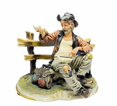 Capodimonte figurine sculpture signed Luigi Restile Gricci hobo bench pigeon vtg