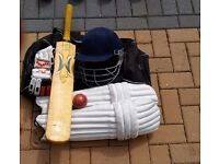 Slazenger Cricket Bag, Willow Bat and Accessories