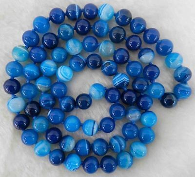 8mm Natural Blue Stripe Agate Onyx Gem Round Beads Necklace 35