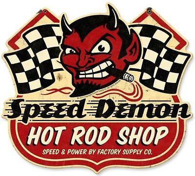 Blechschild Vintage Speed Devil Shop Racing Auto Werkstatt Reklame 38 x 33 cm