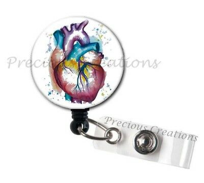 Heart Design ID Badge Reel Holder Clip Retractable RT Tech Nurse Xray Medical (X-ray Badge)