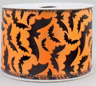"Halloween Wreath Craft Supplies (BATS RIBBON, Halloween Craft Supply, Wired Edge, 10 Yards, 2.5"" Wide,)"