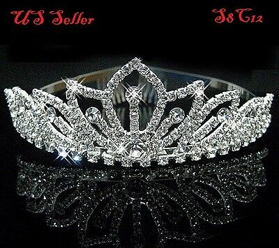 Bridal Princess Crystal Hair Tiara Wedding Crown Veil Headband Birthday S8C12 - Tiara Birthday