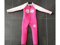 Girl's C Skins pink 3mm wetsuit - age 2