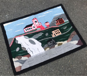 Beautiful Vintage Newfoundland Hooked Rug of St Bruit. Large